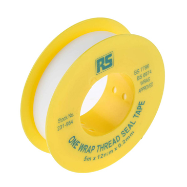 RS PRO White PTFE Tape 12mm x 5m x 0.2mm