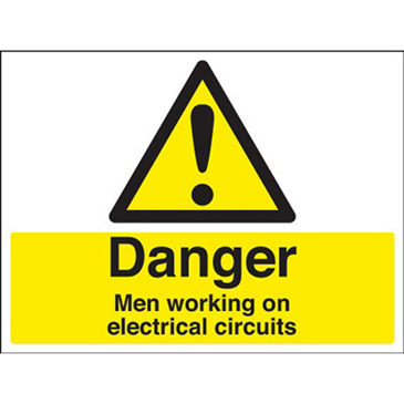 RS PRO Black/Yellow PVC Safety Labels, Danger Men Working On Electrical Circuits-Text 450 mm x 600mm