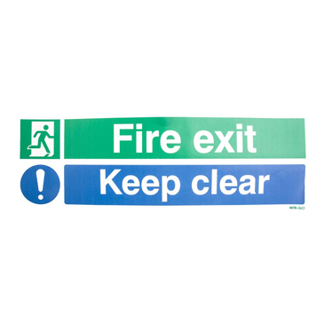 Vinyl Fire Safety Label, Fire Exit Keep Clear With English Text Self-Adhesive