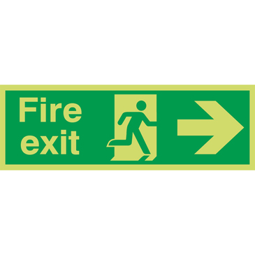 PET Fire Extinguisher, Fire Exit, English, Exit Sign