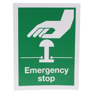 RS PRO Vinyl Green/White Safe Conditions Sign, Emergency Stop, English