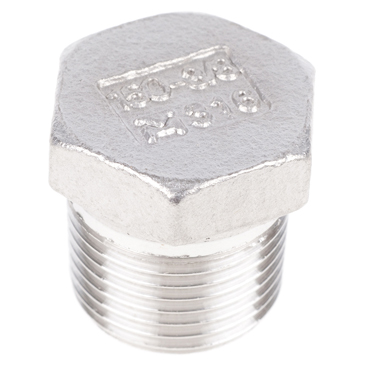 RS PRO Stainless Steel Hexagon Plug 3/8in R(T) Male 0.77in