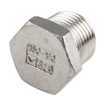 RS PRO Stainless Steel Hexagon Plug 1/2in R(T) Male 0.89in