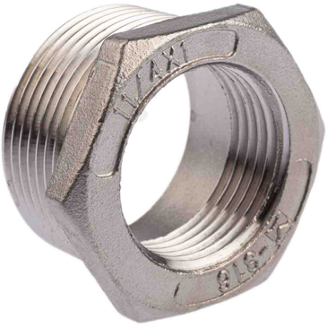 RS PRO Stainless Steel Hexagon Bush 1-1/4in R(T) Male x 1in G(P) Female 1.18in