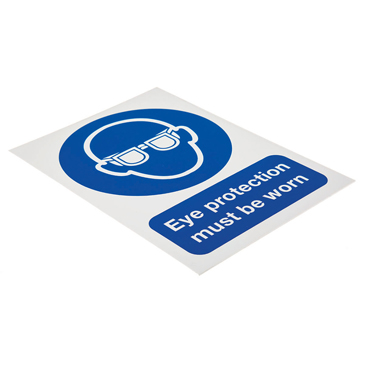 RS PRO PP Rigid Plastic Mandatory Eye Protection Sign With English Text