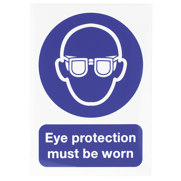 RS PRO Vinyl Mandatory Eye Protection Sign With English Text