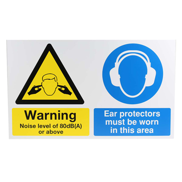 Ear Protectors Must Be Worn in This Area Hazard Warning Sign (English)