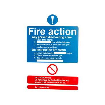 Plastic Fire Safety Sign, Fire Action Instructions With English Text