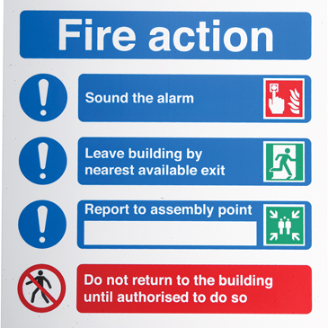 PP Fire Safety Sign, Fire Action Instructions With English Text
