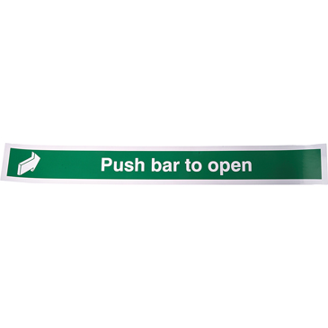 Vinyl Fire Safety Sign, Push Bar to Open With English Text Self-Adhesive