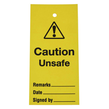 Self-Adhesive Caution Unsafe, Date, Remarks, Signed By Hazard Warning Sign (English)