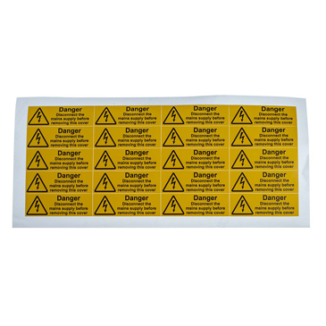 RS PRO Black/Yellow Vinyl Safety Labels, Danger Disconnect the mains supply before removing this cover-Text 20 mm x 60mm