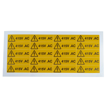 RS PRO Black/Yellow Vinyl Safety Labels, 415V AC-Text 20 mm x 60mm
