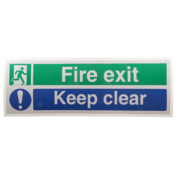 Vinyl Fire Safety Sign, Fire Exit Keep Clear With English Text Self-Adhesive
