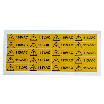 RS PRO Black/Yellow Vinyl Safety Labels, 115V AC-Text 20 mm x 60mm