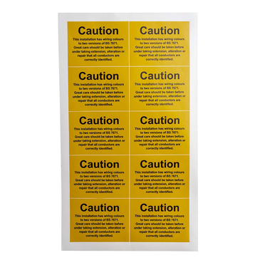 RS PRO Black/Yellow Vinyl Safety Labels, alteration or repair that all conductors are correctly identified., Caution