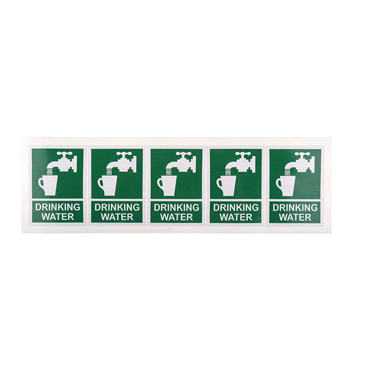 RS PRO 1 x Drinking Water Label (English), Green/White Self-Adhesive Vinyl