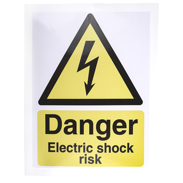 RS PRO Black/White/Yellow Vinyl Safety Labels, Danger Electric Shock Risk-Text 200 mm x 150mm