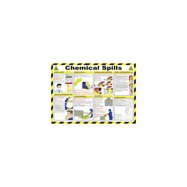 Chemical Spills Safety Guidance Safety Poster, Semi Rigid Laminate, English, 420 mm, 590mm