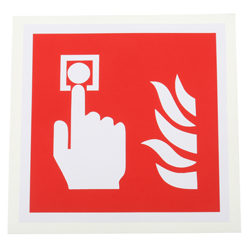 Vinyl Fire Safety Sign,  With Pictogram Only Text Self-Adhesive