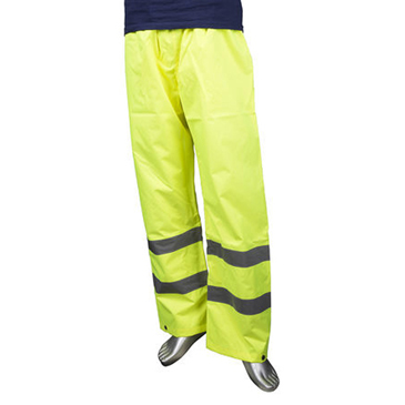 RS PRO Yellow Hi-Vis Unisex's Polyester Waterproof Trousers Waist Size L