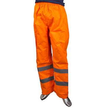 RS PRO Orange Hi-Vis Unisex's Polyester Waterproof Trousers Waist Size L