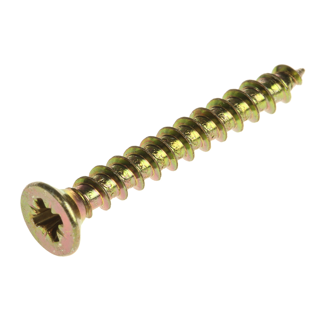 Pozidriv Countersunk Steel Wood Screw Yellow Passivated, Zinc Plated, 3mm Thread, 25mm Length - 100 Pack