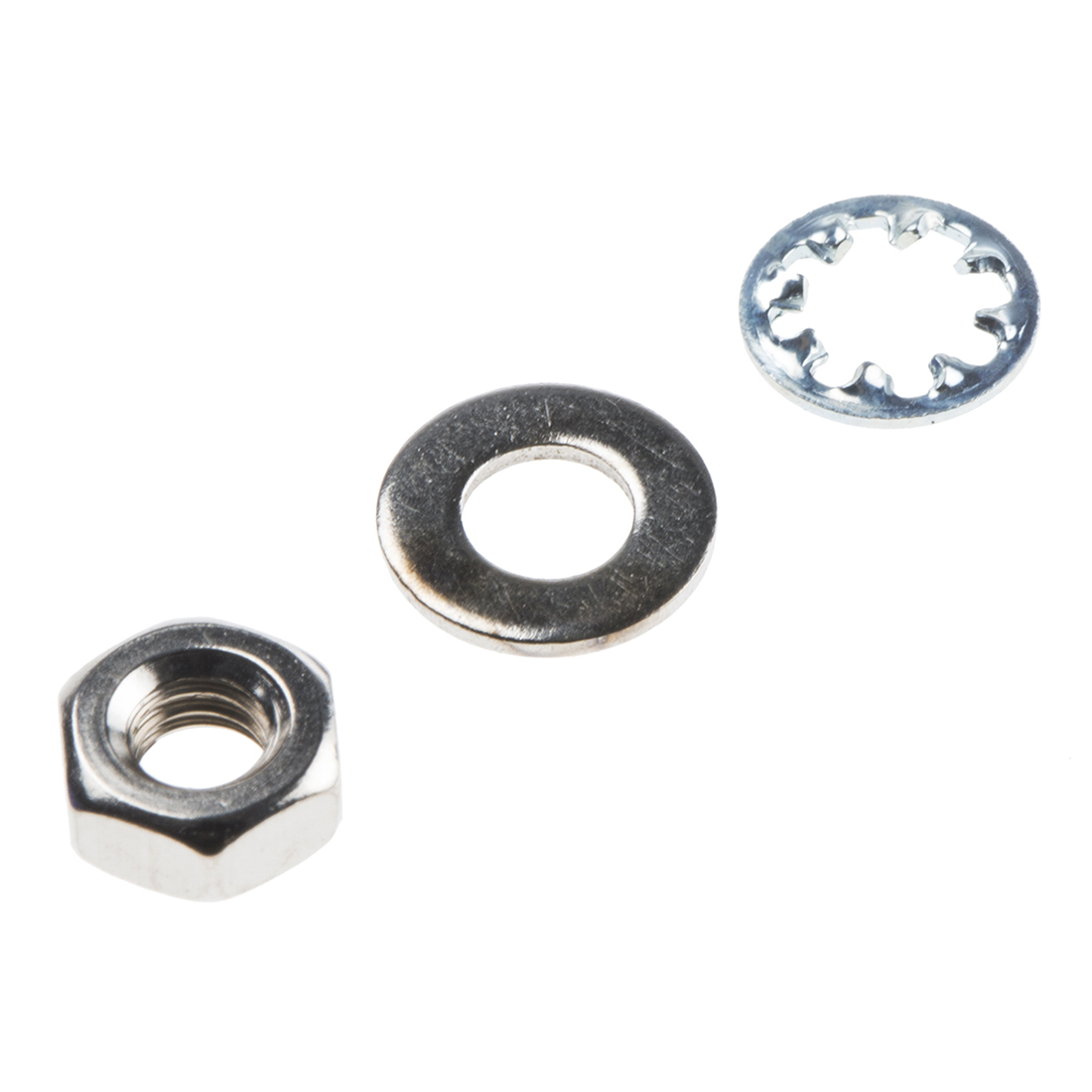 RS PRO 300 piece Brass, Steel Nuts and Washers, M4