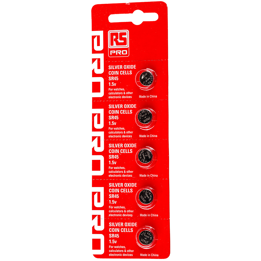 RS PRO SR45 Button Battery, 1.55V, 9.5mm Diameter - Pack of 5