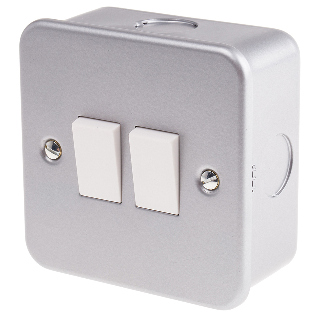 Grey 6 A Surface Mount Rocker Light Switch Grey 5 mm, 2 Way Screwed Matte, 2 Gang BS Standard, 240 V 86.5mm