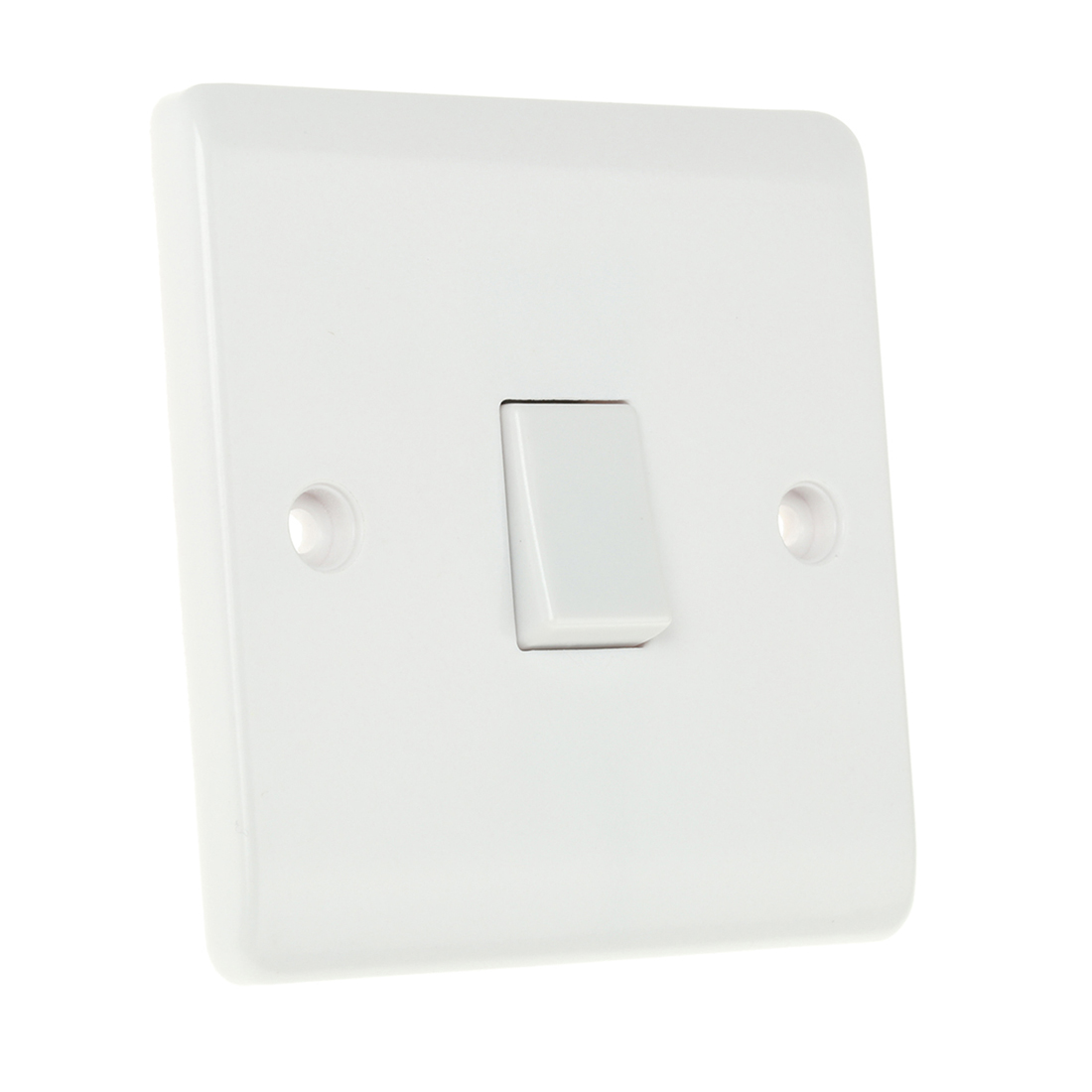 White 10 A Wall Mount Rocker Light Switch White 7 mm, 2 Way Screwed Matte, 1 Gang BS Standard, 250 V 86mm