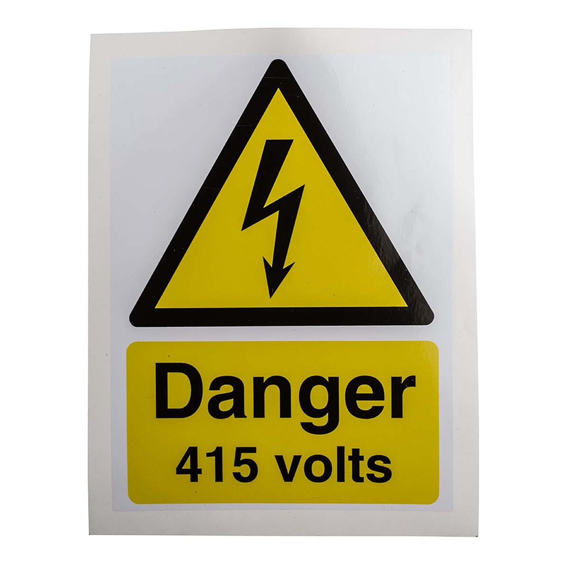 RS PRO Black/White/Yellow Vinyl Safety Labels, Danger 415 Volts-Text 200 mm x 150mm - 5 Pack