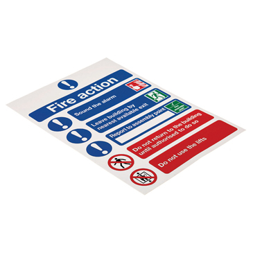 Vinyl Fire Safety Sign, Fire Action Instructions With English Text Self-Adhesive