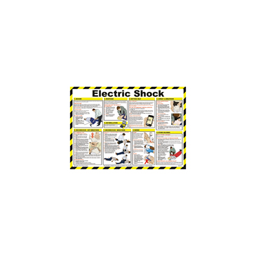 Electric Shock Treatment Guidance Safety Poster, Semi Rigid Laminate, English, 420 mm, 590mm