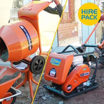 Medium Vibrating Plate and Concrete Mixer Hire Packs